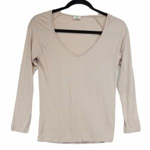 Wilfred Aritzia M baby pink V neck long sleeve